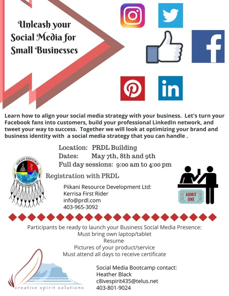Piikani Social Media Bootcamp with logos